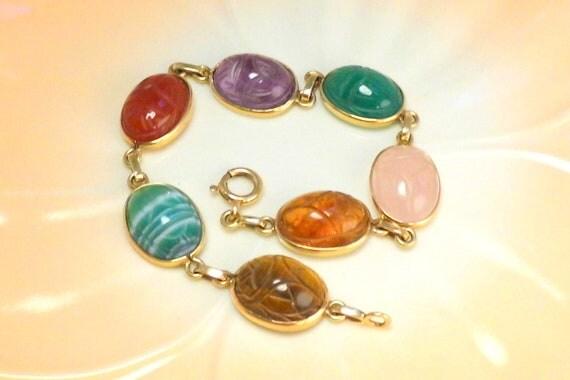 Vintage 14K Gold Scarab Bracelet 7 Stones