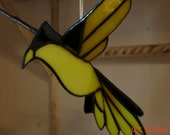 3D Flying Stained Glass Bird in Yellow and Black sz 9 x 8 1/2