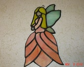 Stained Glass Fairy / Angels with Flower Dress in Peach with Yellow Hair
