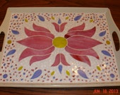 Mosaic Stained Glass Serving Tray with Pink Flower and Blue and Yellow Accents
