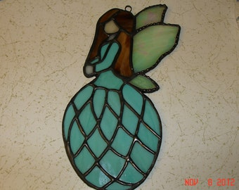 Stained Glass Fairy / Angels with Flower Dress in Soft Teal / Green Blue with Blown Hair