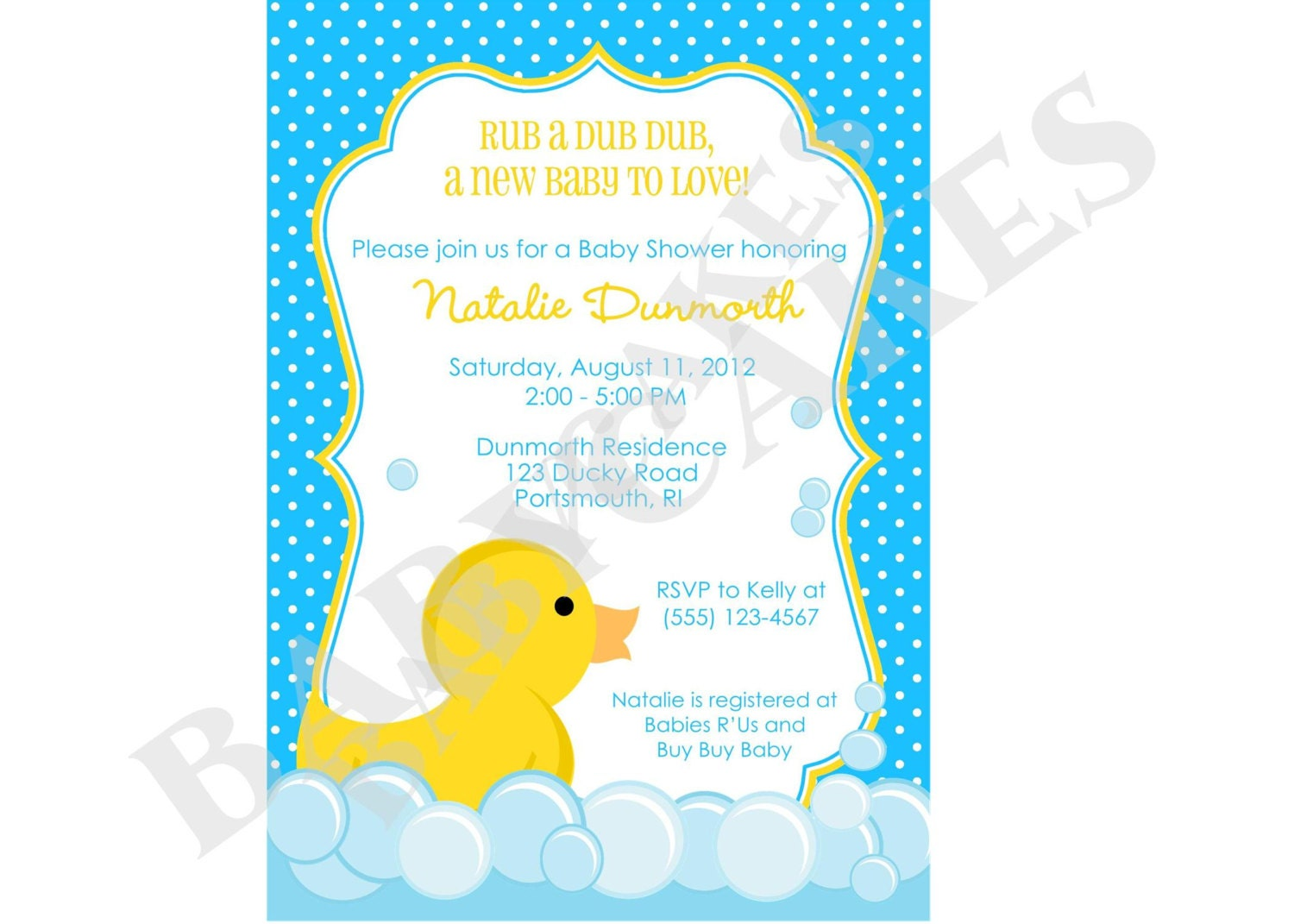 rubber ducky baby shower invitation invite sprinkle boy blue