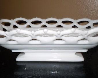 Pretty White Milk Glass Basket Lattice Edge