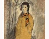 original drawing FALL figurative girl portrait
