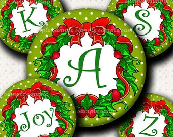 INSTANT DOWNLOAD Cutie Christmas Wreath Alphabet (561) 4x6 Digital Collage Bottle Cap Images for bottlecaps hair bows  bottlecap images