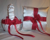 White Satin With Red Ribbon Trim Flower Girl Basket And Ring Bearer Pillow Set 2