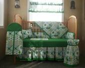 Special Order For Feefarms 6 Piece John Deere Green Patchwork Plaid Baby Quilt Set, Nursery Set  2