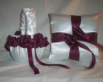 White Satin With Burgandy Ribbon Trim Flower Girl Basket And Ring Bearer Pillow Set 1