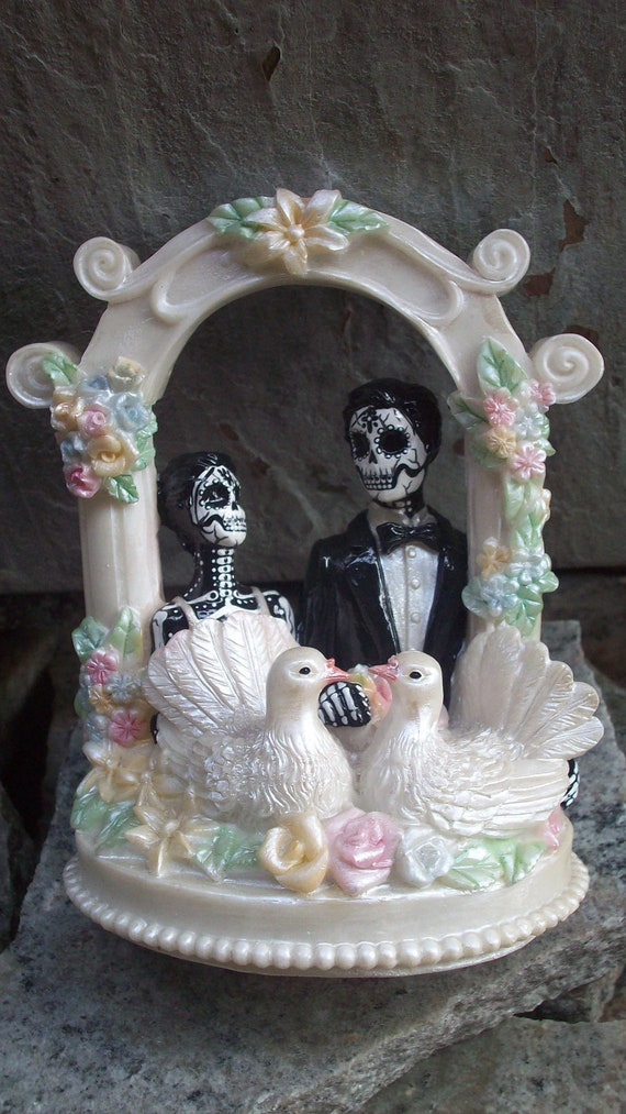 Day Of The Dead Bride And Groom Wedding Cake Topper
