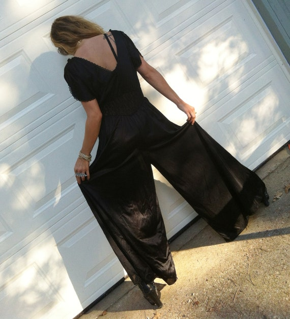 RESERVED Dramatic PALAZZO pant flowy Jumpsuit with black LACE insets gothic disco princess