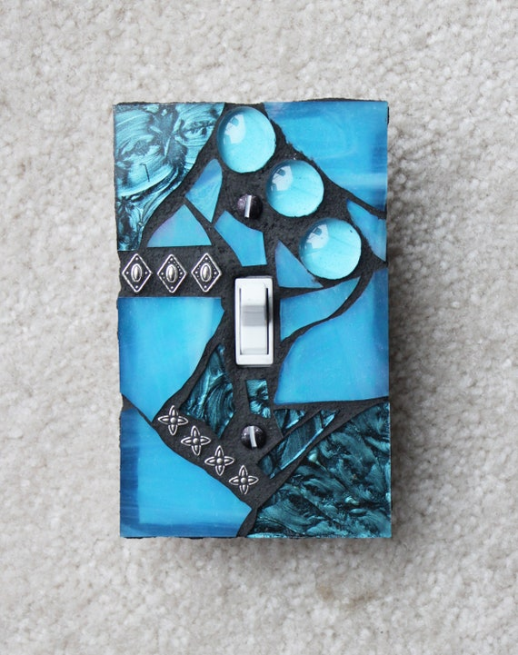 Amazing Aqua - Turquoise Single Mosaic Light Switch Cover Wall Plate