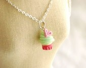 Sweet Cupcake Heart Charm Necklace gift for girls