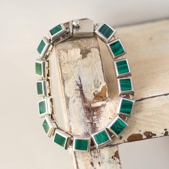 Vintage Malachite and Sterling Bracelet Mexico
