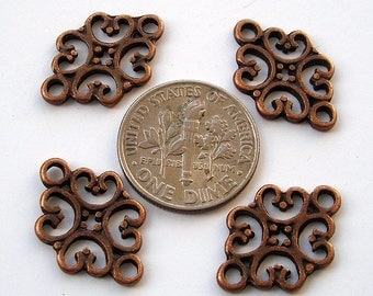 20pcs-Pendant, Charm Connector Flower  Antique Copper 12x19mm.