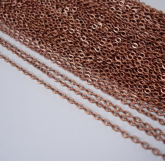 15ft Spool-Copper Tiny Flat Oval Cross Cable Chain-2x1.5mm.