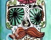 Mustache Sugar Skull Print - 8x10