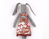 Stuffed Bunny - knitted silk Of light gray Rabbit With  Maroon ,Turquoise Floral Retro dress -handmade fabric doll