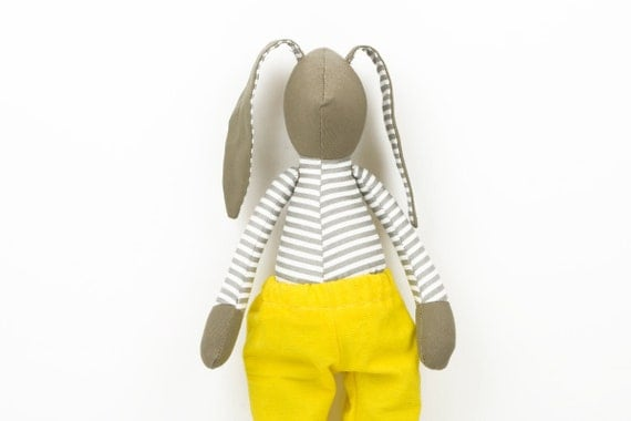 Toy  Fabric doll - Olive Rabbit in Gray and white striped shirt Wearing Neon yellow corduroy pants - handmade doll