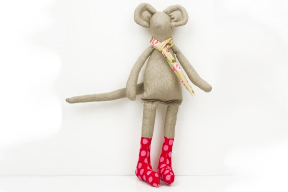 spring Mouse - Light beige Mouse Wearing red dotted pink socks and  Pale green floral scarf - handmade fabric doll