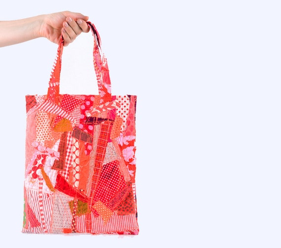 Tote Shoulder Bag - upcycled Crazy Patchwork ,Tote Shoulder Bag ,Recycled Colorful red pink cotton scraps from the studio - all Handmade