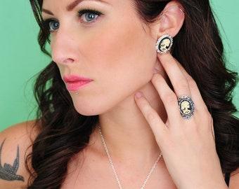 Skeleton Earrings - Skeleton Lady Halloween Jewelry