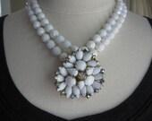 Statement Necklace, Wedding Necklace, Vintage, Milk Glass, Brooch, AB Rhinestones, Jennifer Jones, White, Multistrand, Bride - First Frost
