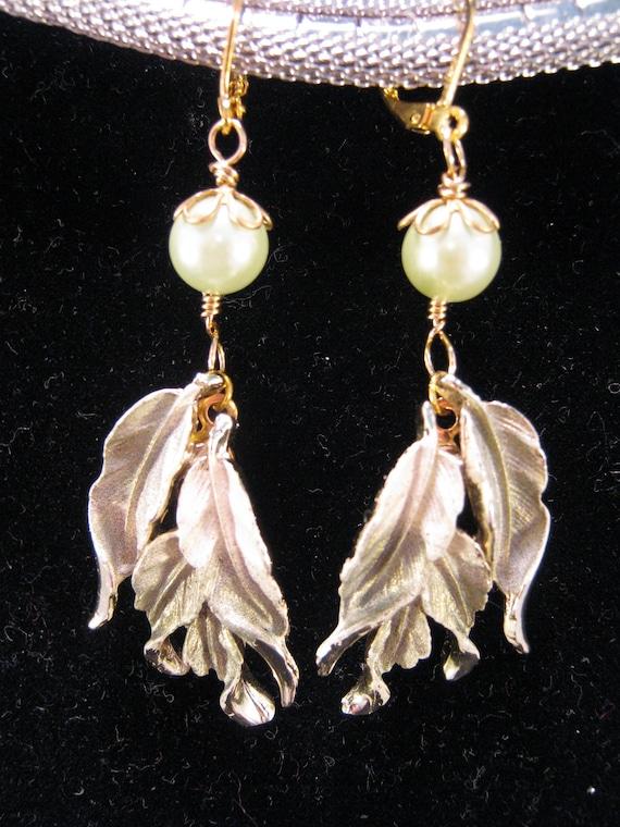 Reclaimed Vintage Earrings, Enamel Flower Earrings, Bridesmaid Gift, Mint Green Pearls - The Palms