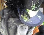 Halloween, Gothic, Steampunk, Victorian, Green Spider Mini Top Hat