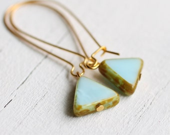 Seafoam Triangle Earrings ... Turquoise Robin Egg Aqua Southwestern Arrow