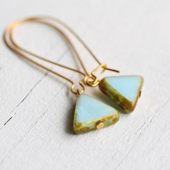 Seafoam Triangle Earrings ... Turquoise Robin Egg Aqua Southwestern Arrow