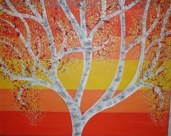 This is a vibrantly colored, abstract tree painting.