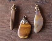 Vintage Polished Stone Pendants - Rustic Rocks, Warm Autumn Tones