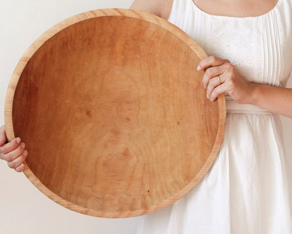 Huge Wooden Bowl - Blonde Wood, 17 Inch Diameter, Rustic Home Decor