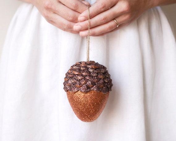 Jumbo Acorn Ornament, Pumpkin Orange Spice, Rustic Woodland Decor