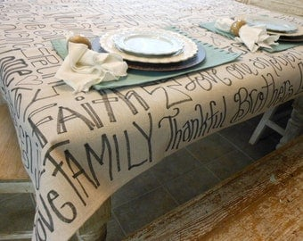 Tablecloth full of things to be Thankful FOR Send me your words 5 ft X 5ft Other sizes available