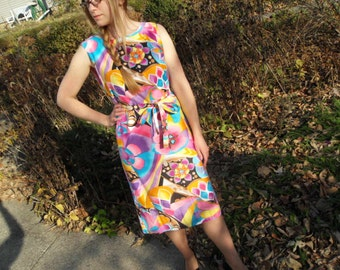 Sale 25% Off Use Coupon Code SAVE25 // Psychedelic Dress Designed by Charlotta of California Vintage 60s