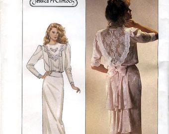 Simplicity 8224 by Jessica McClintock Vintage 80s Misses' Dress Sewing Pattern - Uncut - Size 12 - Bust 34
