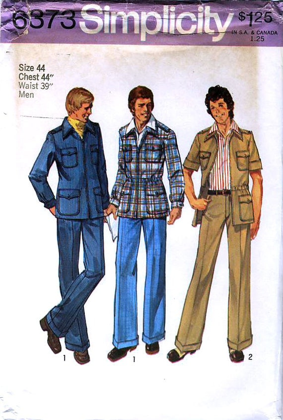 Simplicity 6373 Vintage 70s Men's Unlined Shirt-Jacket and Pants Sewing Pattern - Uncut - Size 44