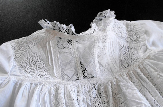 Vintage Victorian Christening Gown English with Lace and Embroidery