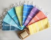 Free Shipment SET 8 Head and Hand Towel Peshkir - Teal Green - Yellow - Orange - Ice Blue - Blue - Green - Purple - Crystal blue