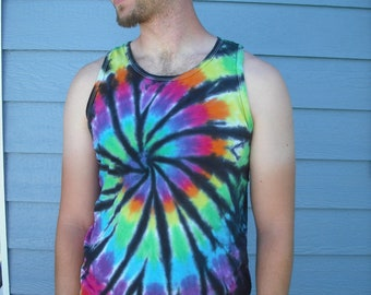 Men's tie dye tank top with black accents size Large