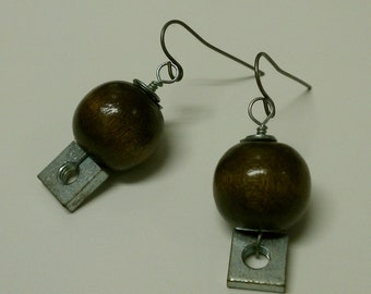 Wood and Fastner Hardware Earrings - Upcycled Hardware Geek Earrings