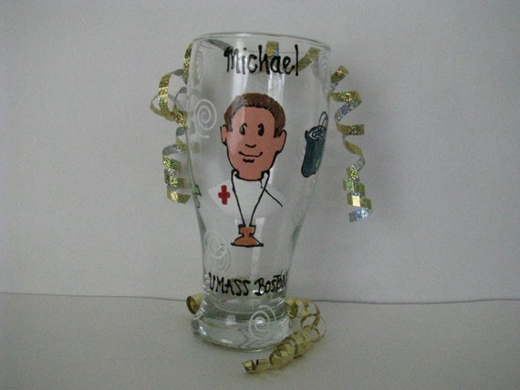 Nurse Nurses Aide RN  Wine Glass Personalized Hand Painted  Glasses