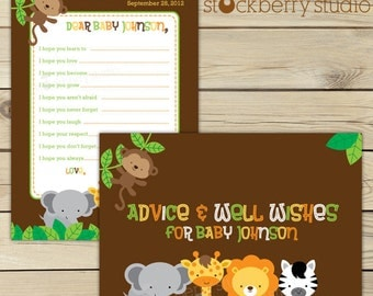 Safari Jungle Baby Shower Wishes for Baby Card Printable - Jungle Animals Advice For Mom To Be - Well Wishes For Baby Sign - Gender Neutral