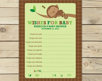 Monkey Baby Shower Wishes for Baby Boy Card Printable - Boy Baby Shower Advice Cards - Green Baby Shower Well Wishes - Baby Shower Games