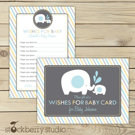 Elephant Baby Shower Wishes For Baby Boy Printable - Blue Gray Yellow Advice Card - Baby Shower Well Wishes For Baby - Boy Baby Shower Games
