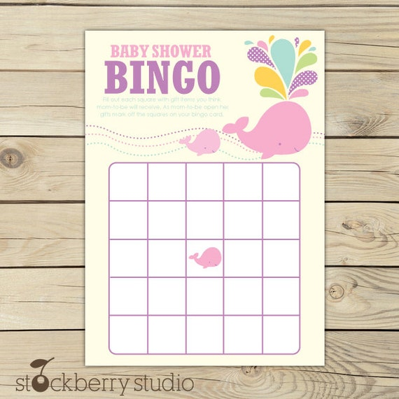 Whale Baby Shower Bingo Game - Girl Baby Shower Bingo Cards Printable - Pink Baby Shower Games - Instant Download - Baby Shower Activities