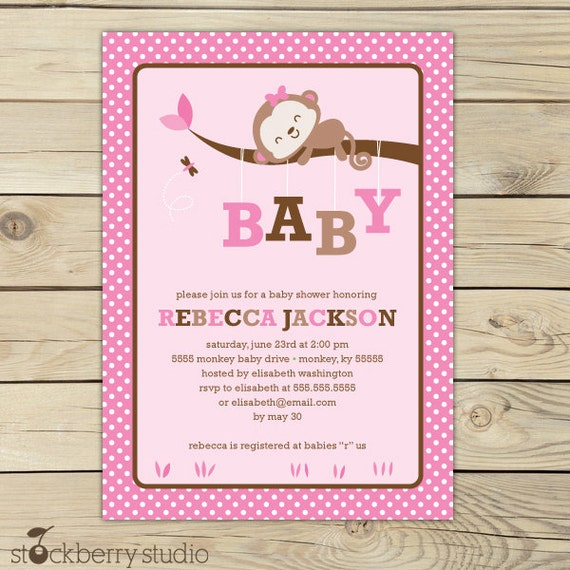 baby shower invitation printable pink baby shower girl monkey baby