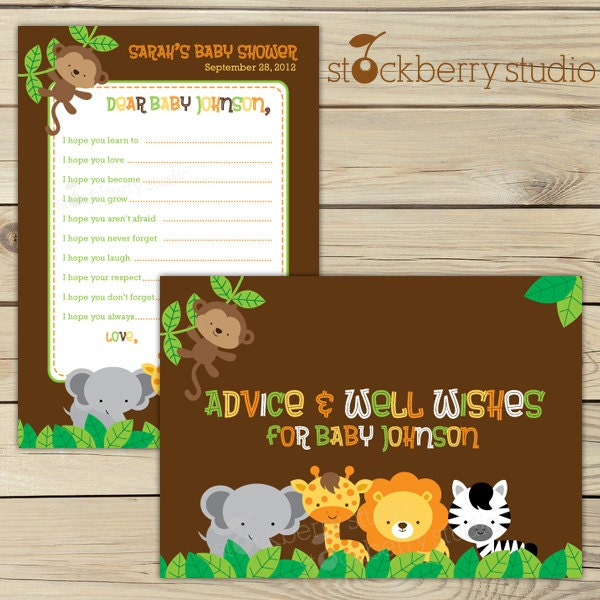 Safari jungle baby shower wishes for baby card printable for Baby shower party junge