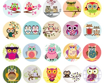 Digital Cute Circle Owl Pendant Sheet 1.5 inches No. 84 Instant Download